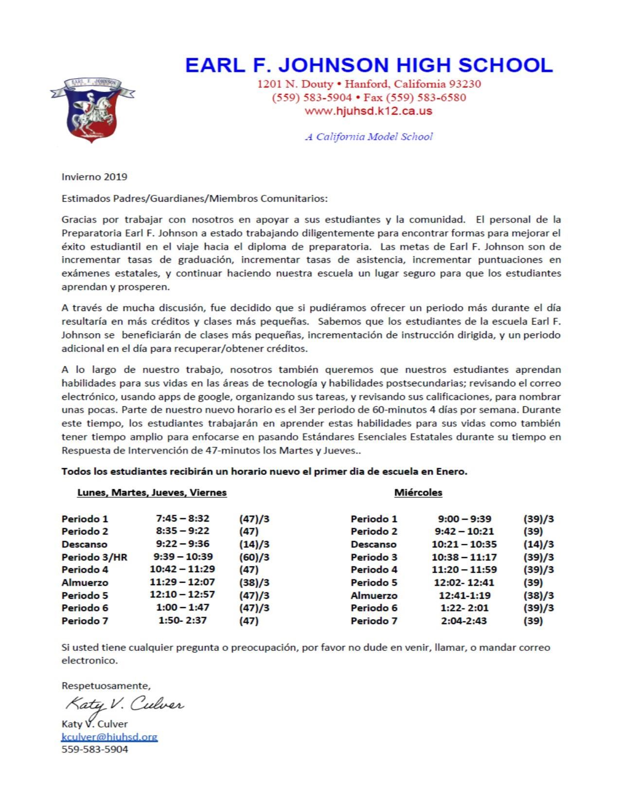 Schedule Change Letter in Spanish